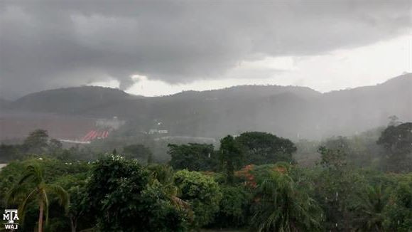 Downpour at hotel in Akosombo