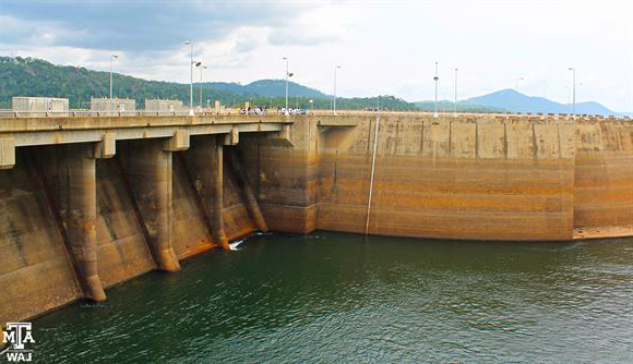 low water at Volta Dam in Ghana