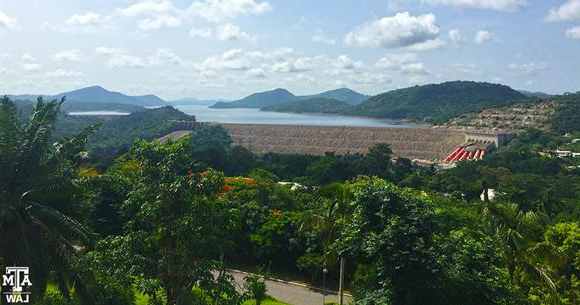 Ghana view of Volta Dam from hotel