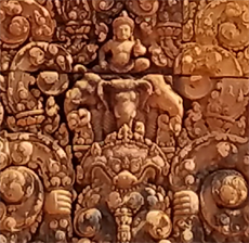 柬埔寨- carving detail at Banteay Srei